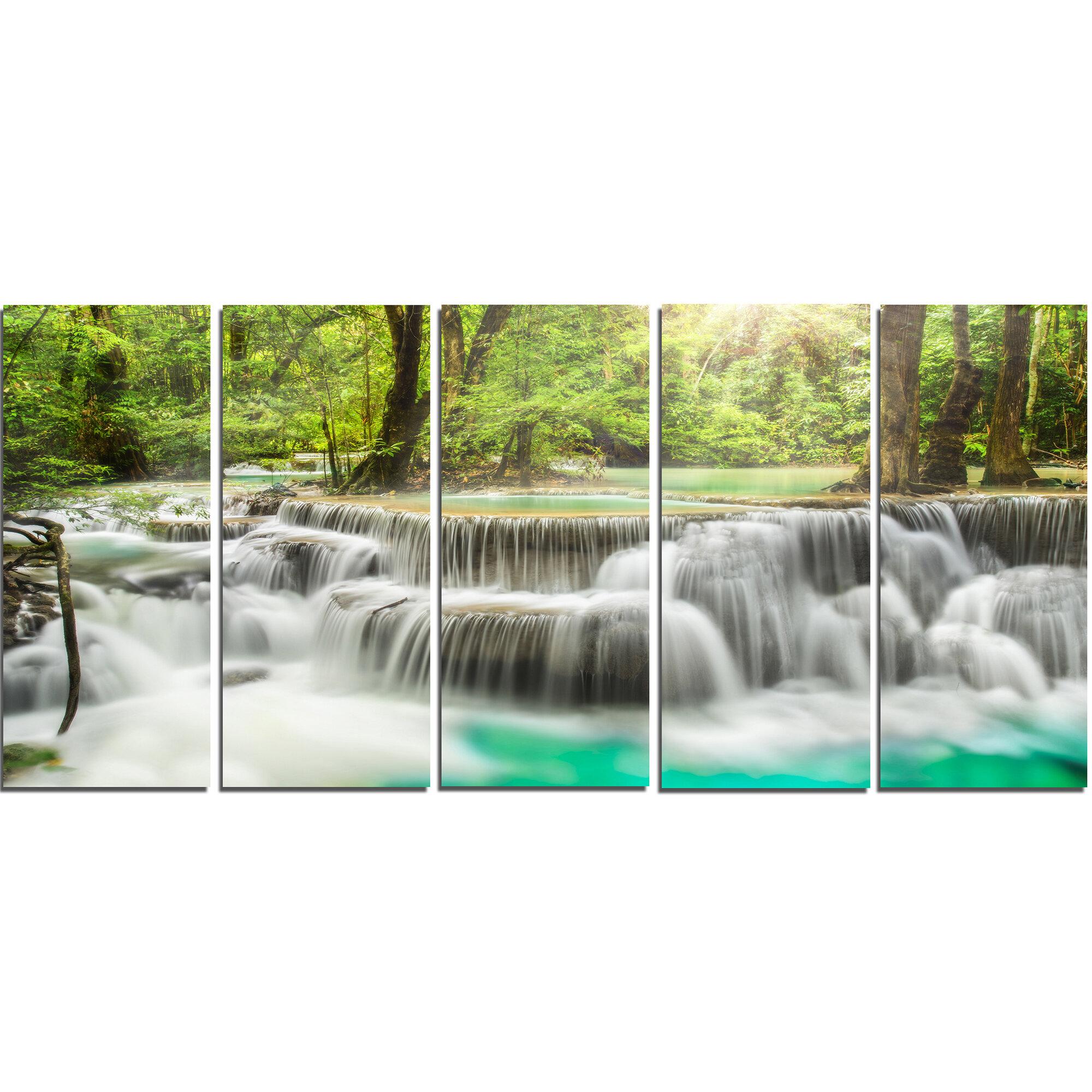 Designart Kanchanaburi Erawan Waterfall 5 Piece Wall Art On Wrapped Canvas Set Wayfair