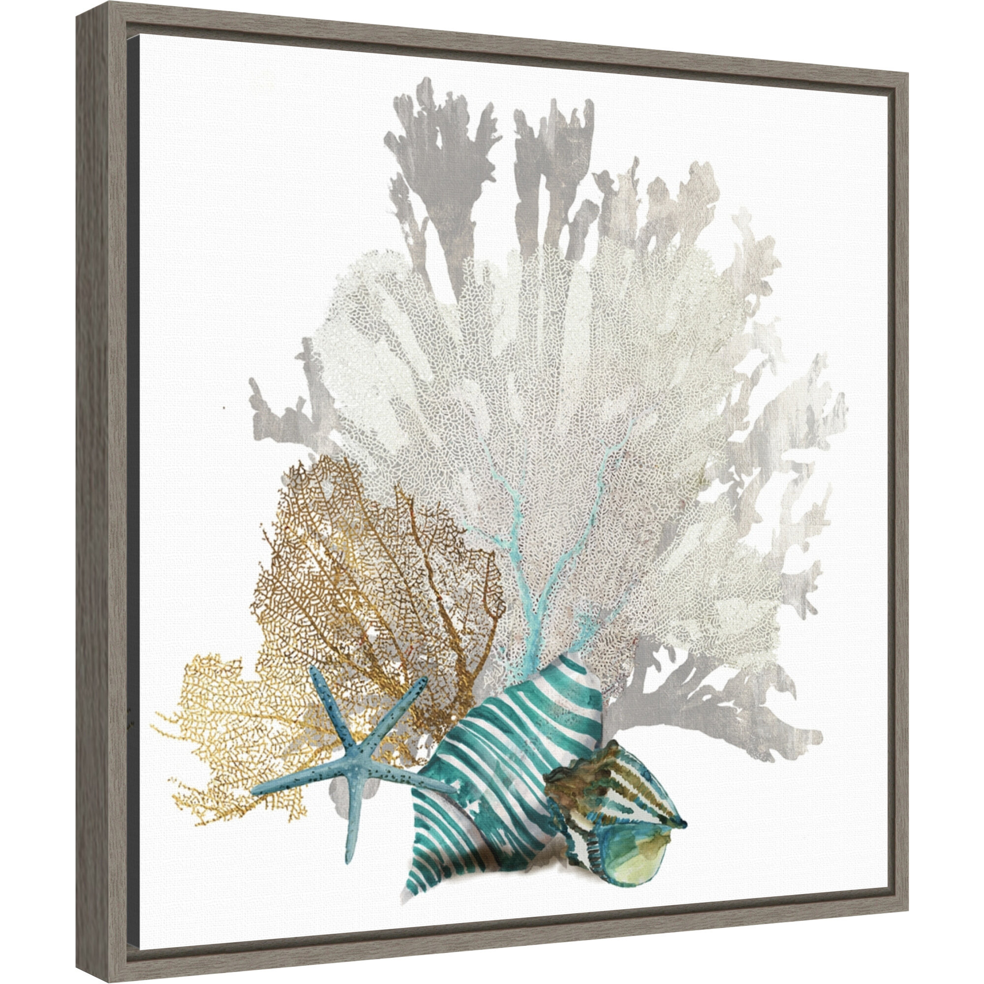 Rosecliff Heights Coral By Aimee Wilson Floater Frame Painting Print On Canvas Wayfair