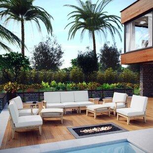 Beachcrest Home Elaina 9 Piece Teak Sectional Set with Cushions