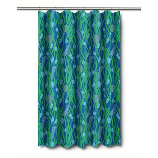 Coastal Green Seaweed Shower Curtain