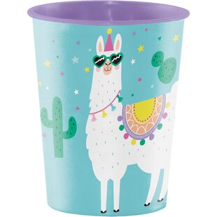 Llama Party Plastic Disposable Every Day Cup (Set of 8)