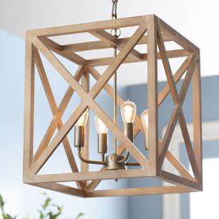 William 4 - Light Lantern Square / Rectangle Chandelier with Wood