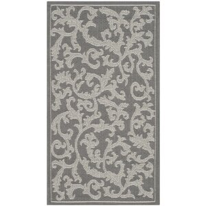 Short Anthracite Light Grey Area Rug