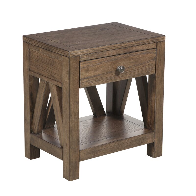 Neace Farmhouse Style 1 Drawer End Table