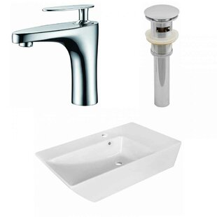 Affordable Above Counter Ceramic Rectangular Vessel Bathroom Sink with Faucet and Overflow ByRoyal Purple Bath Kitchen