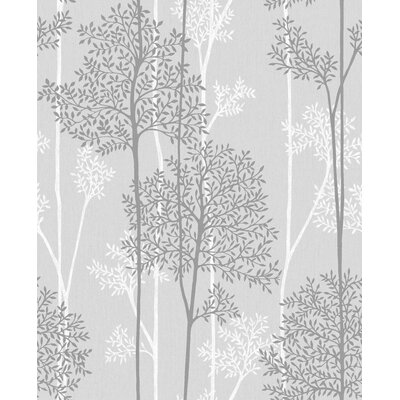 Gracie Oaks Darcella 33' x 20 Floral and Botanical Wallpaper Roll Color: Grey