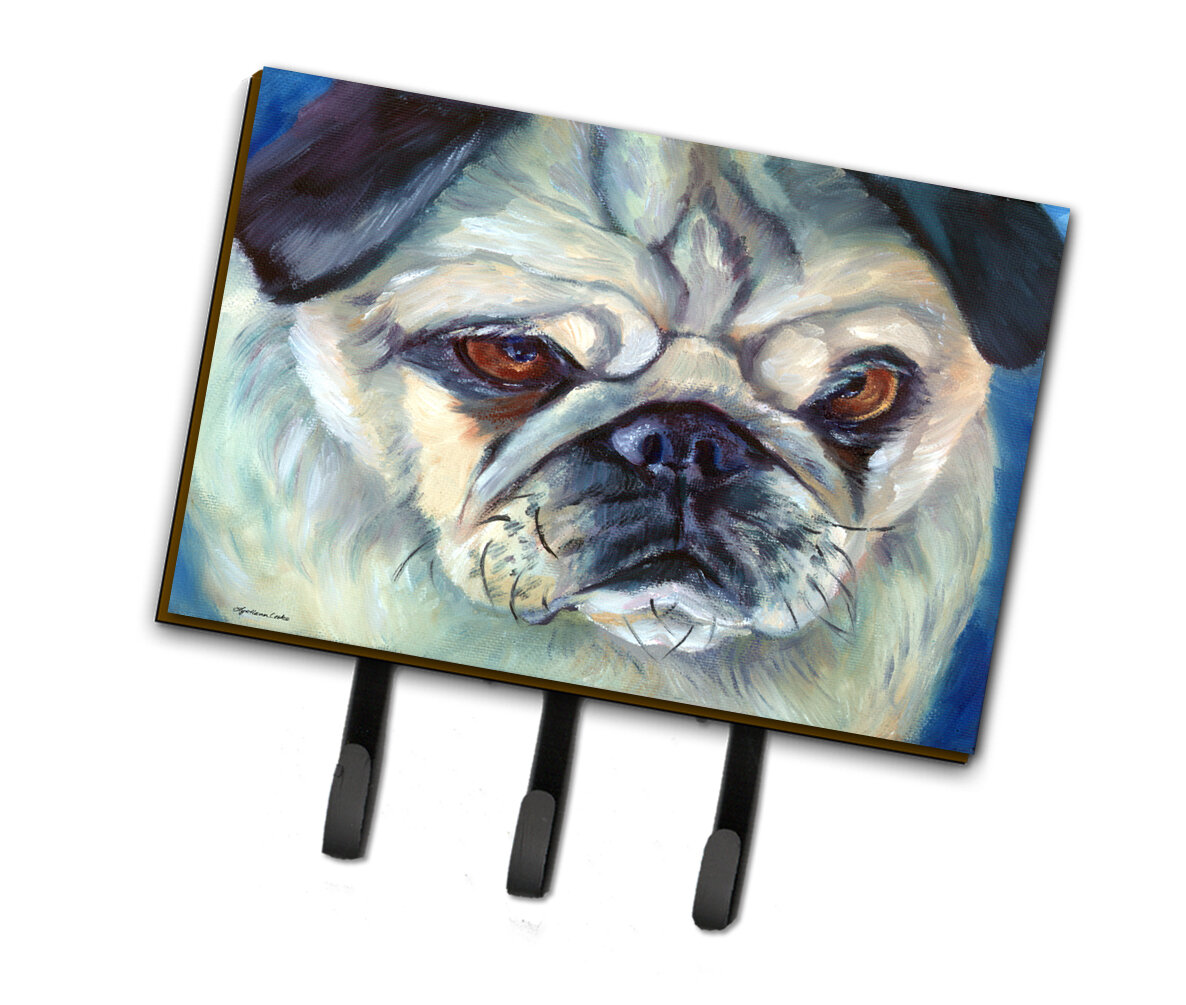 East Urban Home Jellico Pug In Thought Wall Key Organizer With Key Hooks Wayfair