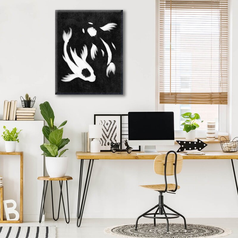 Click Wall Art Yin Yang Koi Painting Print On Wrapped Canvas In Black Wayfair Ca