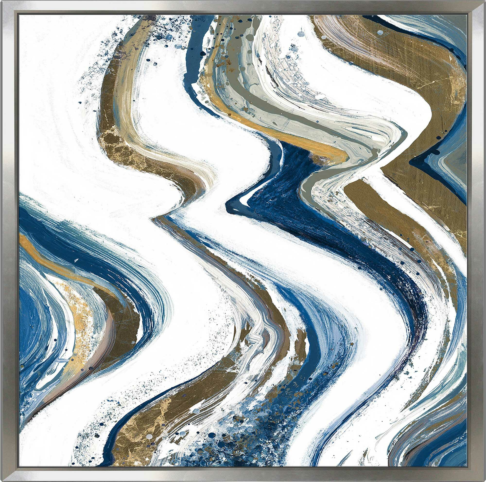 Wrought Studio New Concept Midnight Abstract Ii Framed Acrylic Painting Print On Canvas Wayfair