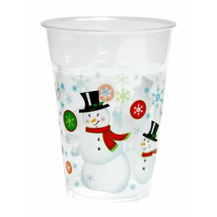 Snowman Plastic Disposable Cup (Set of 50)