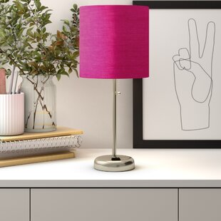 """Zainab 19.5"""" Brushed Steel Table Lamp with Outlet"""