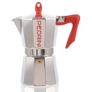 Pedrini Stovetop Espresso Pot Silver With Red Handle by Grosche New Design