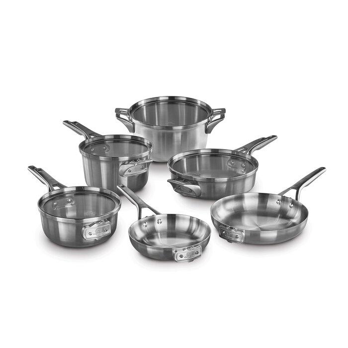 Calphalon Premier 10 Piece Stainless Steel Space Saving Cookware Set