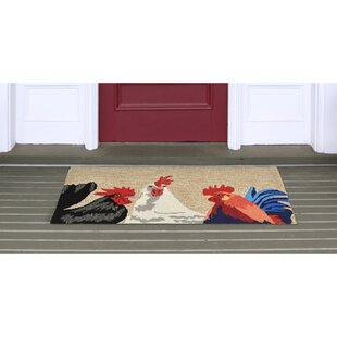 Calderon Roosters Hand-Tufted Natural Indoor/Outdoor Area Rug
