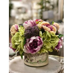 Mixed Peony and Rose Bouquet Floral Arrangement in French Pot