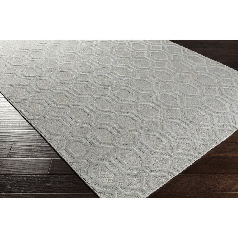 Darby Home Co Barrville Geometric Hand Knotted Silver Gray Area Rug Wayfair