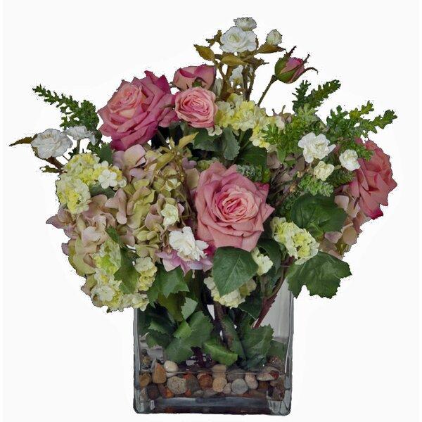 Faux pink flowers in vase wayfair mightylinksfo