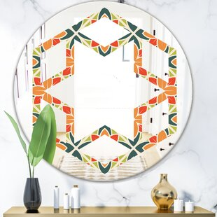Floral Pattern IV Hexagon Star Eclectic Frameless Wall Mirror by East Urban Home