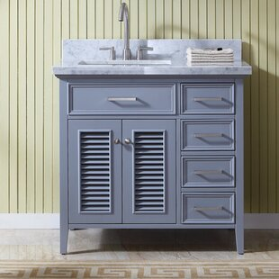 Hamil Left Offset 37 Birch Single Bathroom Vanity with Mirror by Highland Dunes