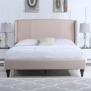 Kassandra Linen Upholstered Platform Bed with Shelter Headboard