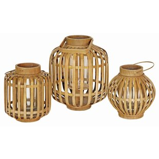 Bay Isle Home Bamboo/Glass Lantern
