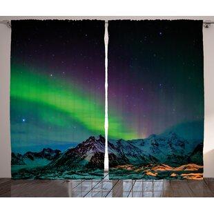 Southern Iceland Graphic Print Room Darkening Rod Pocket Curtain Panels  (Set Of 2)