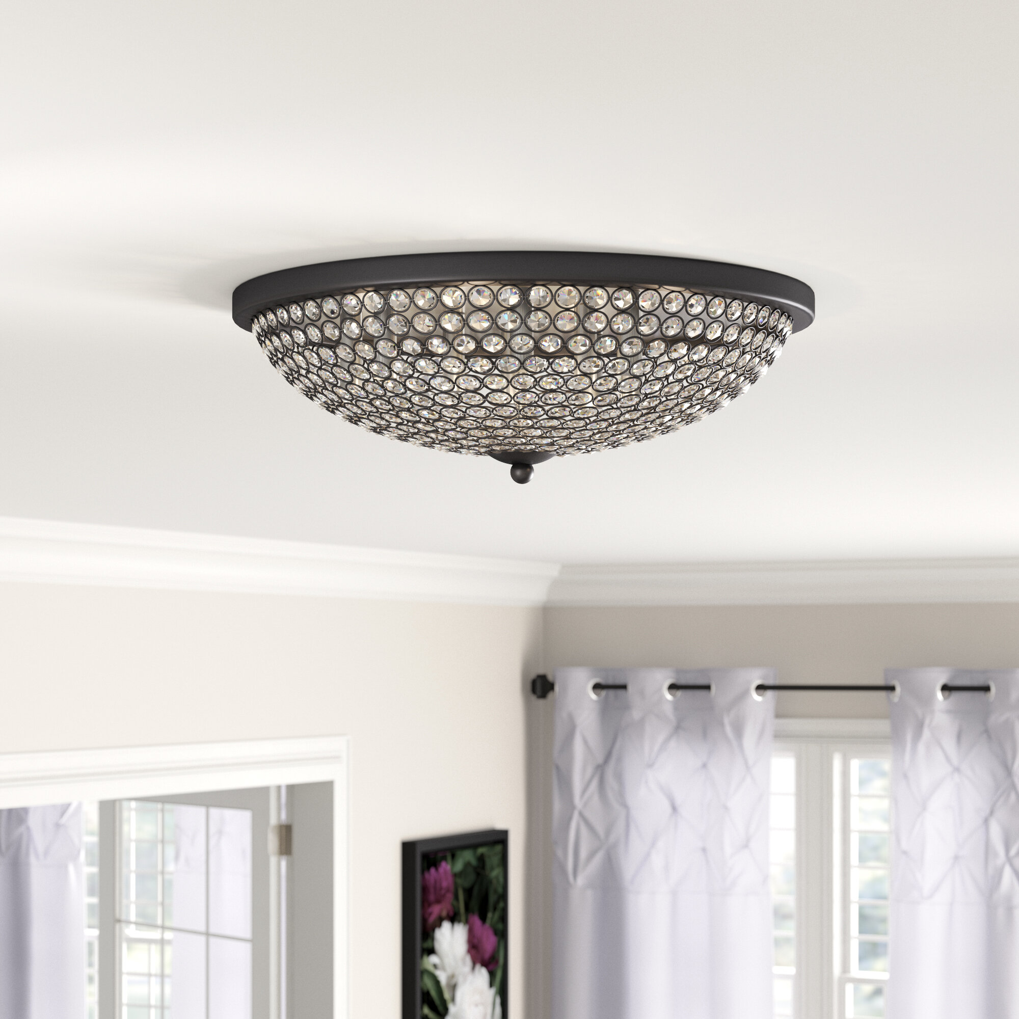 Crystal Accents Glass Flush Mount Lighting You Ll Love In 2021 Wayfair
