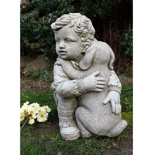 Leary Boy With Puppy Stone Garden Statue By Happy Larry