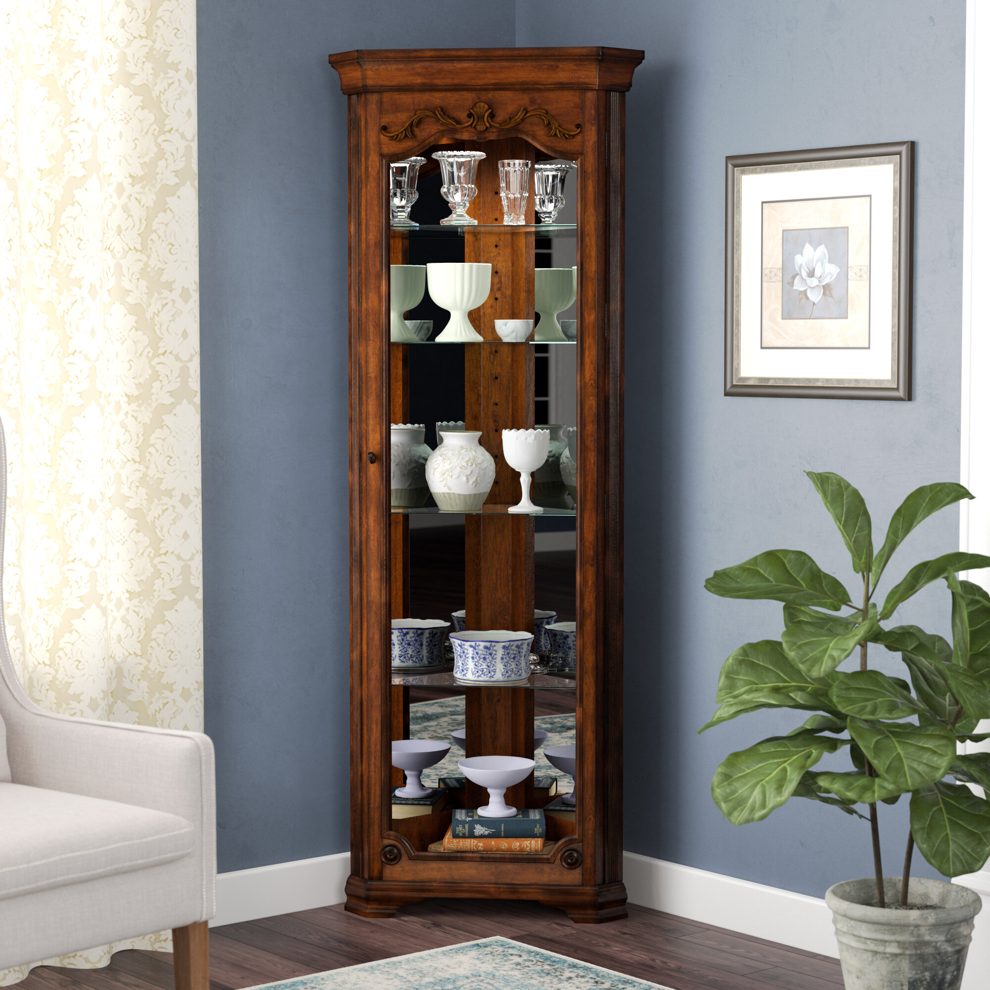 mirrored enterprises mirage cabinet corner curio lighted southern