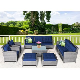 Dowdy 11 Piece Rattan Sectional Seating Group with Cushions ByRosecliff Heights