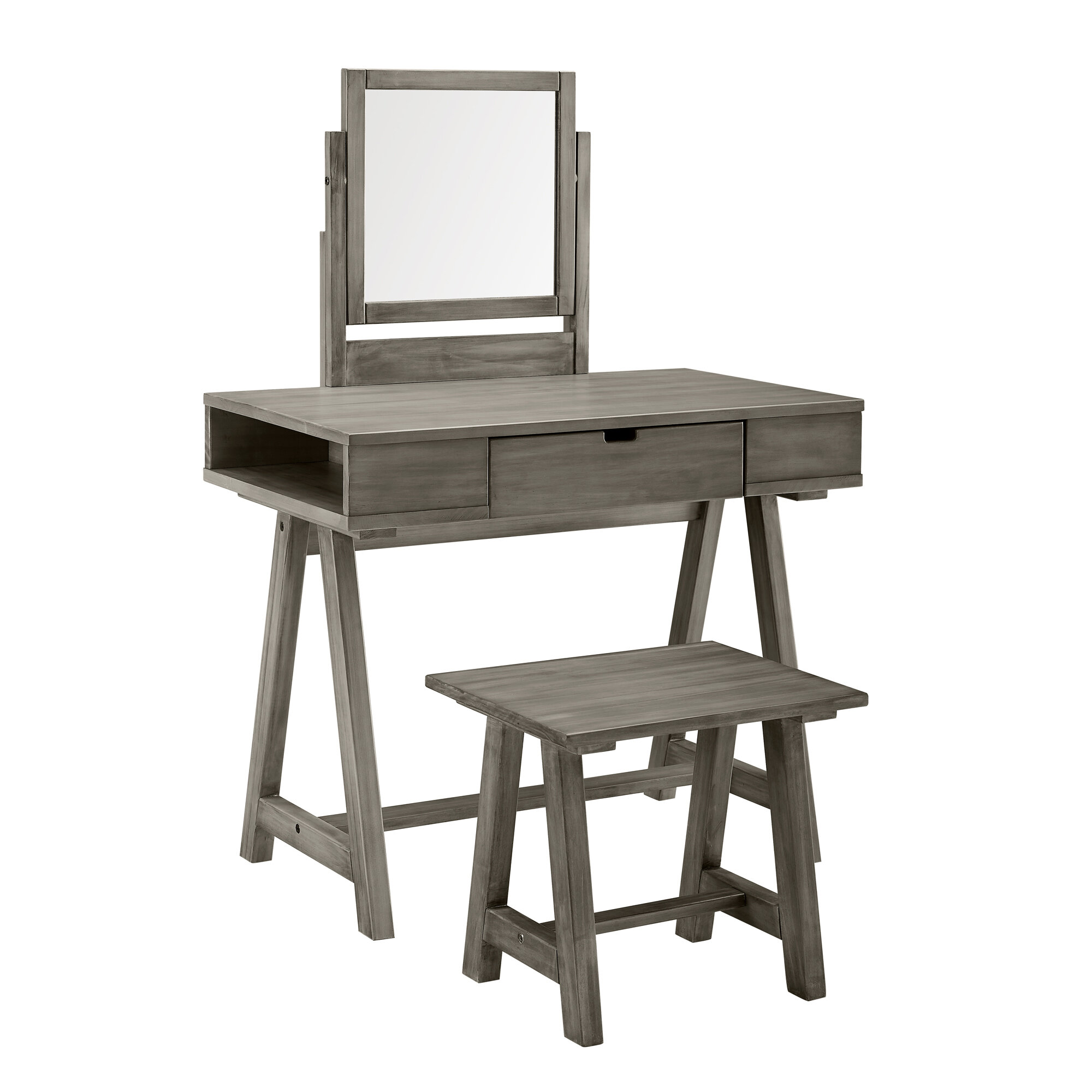 Gracie Oaks Maximilian Farmhouse Vanity Set With Mirror Reviews Wayfair