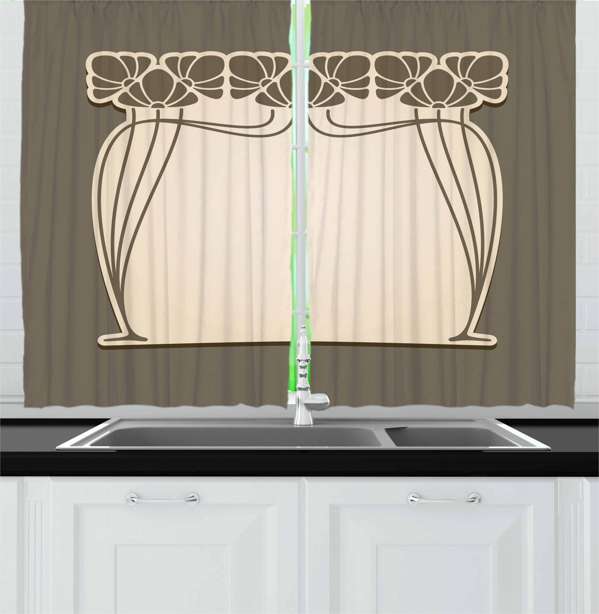 East Urban Home Art Nouveau 55 2 Piece Kitchen Curtain Set Wayfair