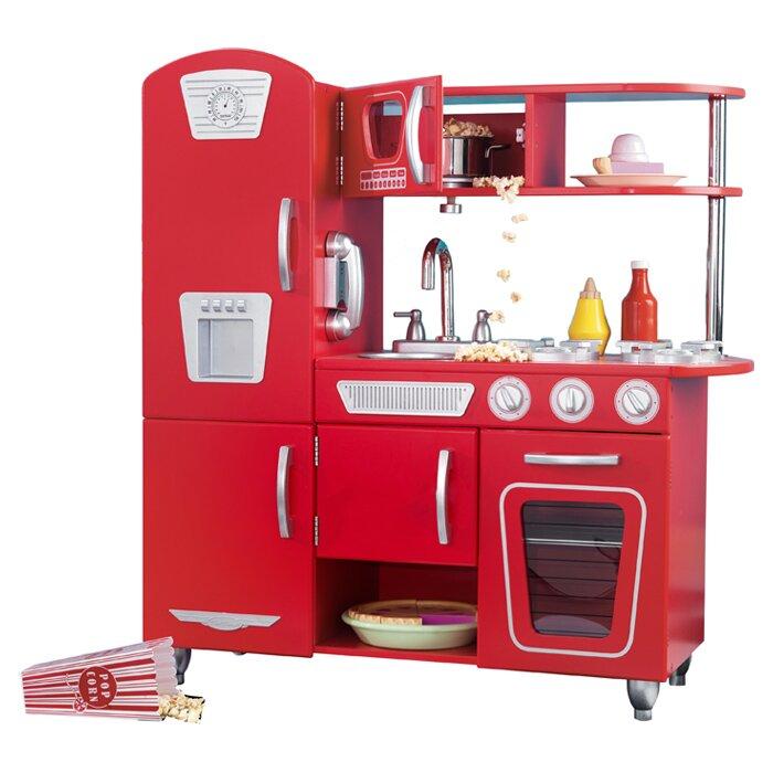 Kidkraft Retro Kitchen Blue kidkraft personalized red vintage kitchen & reviews | wayfair