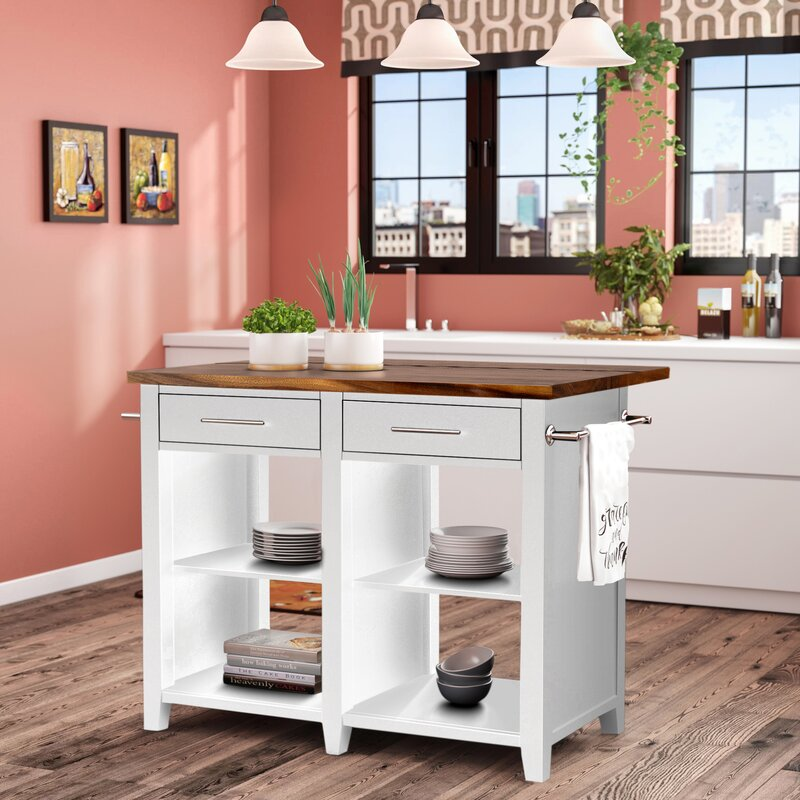 Laurel Foundry Modern Farmhouse Jaxon Counter Kitchen Island Solid Wood