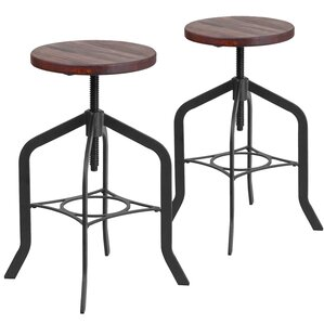 Bing Adjustable Height Swivel Bar Stool (Set of 2) by 17 Stories
