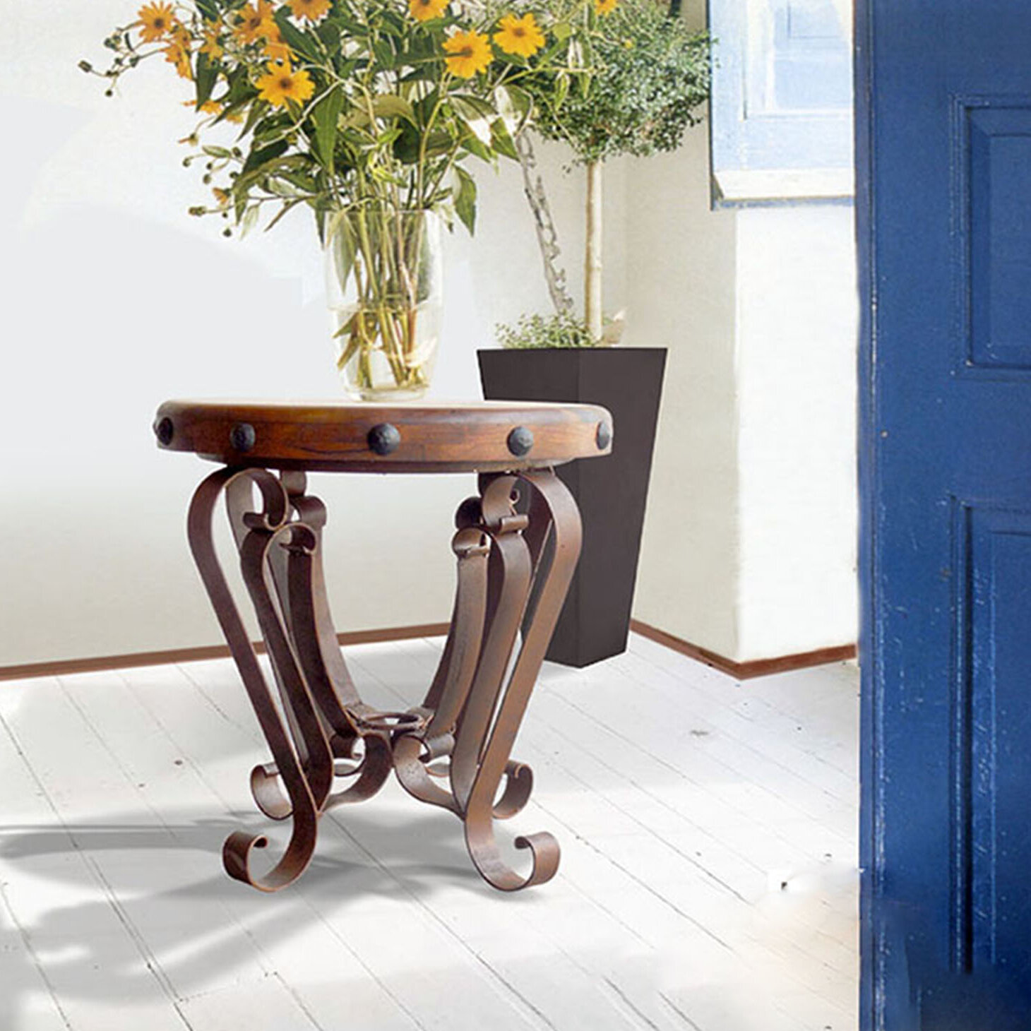 Mexports By Susana Molina Rustic Elegant Occasional Table With Mesquite Top With Nails And Wrought Iron Legs Entry Table Foyer Table End Table Wayfair