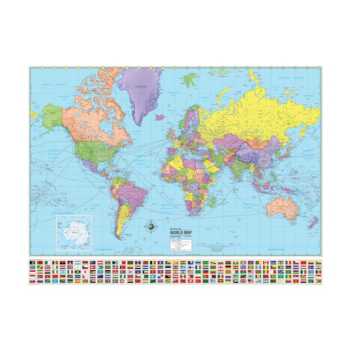 advanced political world laminated rolled map