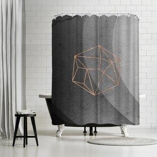 Emanuela Carratoni Geometric Solids On Marble Single Shower Curtain