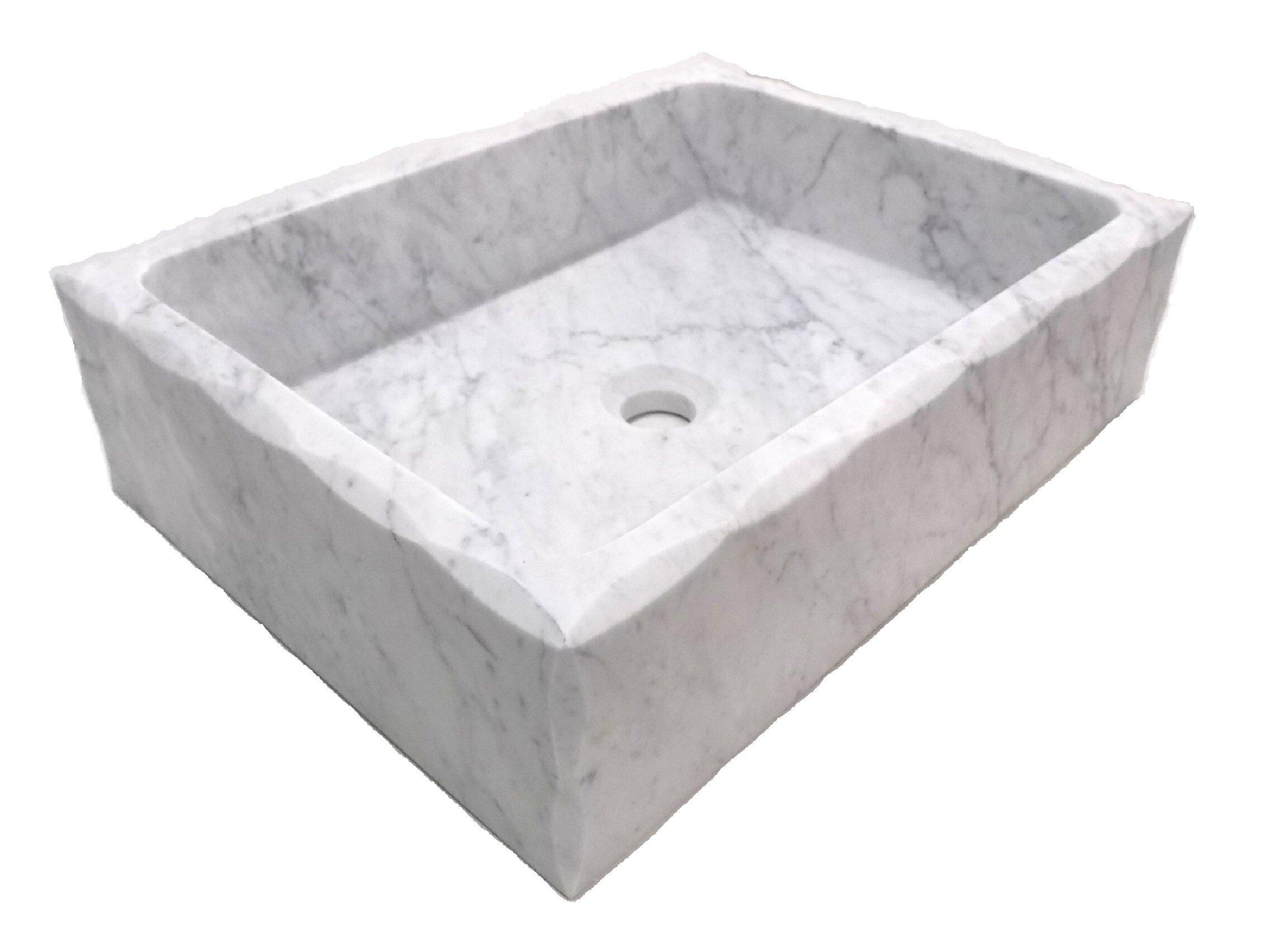 Edenbath Honed Antique Carrara Marble Rectangular Vessel Bathroom Sink Wayfair