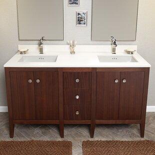 Sophie 60 Bathroom Double Vanity Base in American Walnut by Ronbow