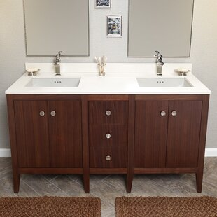 Check Prices Sophie 60 Bathroom Double Vanity Base Only in American Walnut ByRonbow