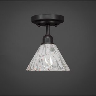 Kash 1-Light Italian Ice Glass Downlight Semi-Flush Mount by Williston Forge