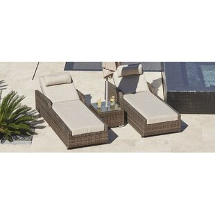 Huff 3 Piece Chaise Lounge with Cushion by Bayou Breeze