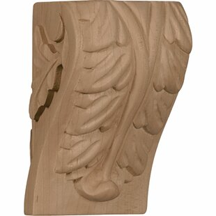 Acanthus 4 inch H x 2 1/2 inch W x 2 1/4 inch D Small Leaf Block Corbel in Cherry