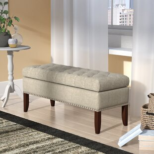 Charlton Home Tackett Hinged Top Button Tufted Upholstered Storage Bench