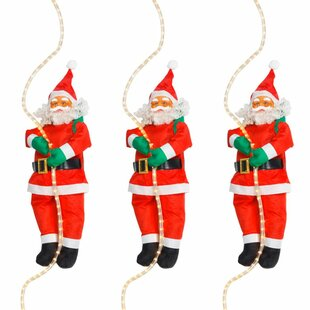 Santa Claus With A Rope Lighted Display Set (Set Of 3) By The Seasonal Aisle