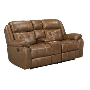 Alves Manual Motion Reclining Loveseat with Console, Light Brown