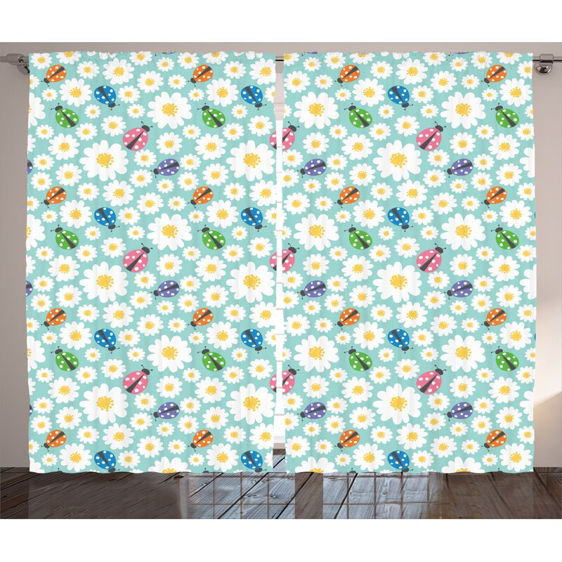 East Urban Home Ladybugs Floral Room Darkening Rod Pocket Curtain Panels Wayfair