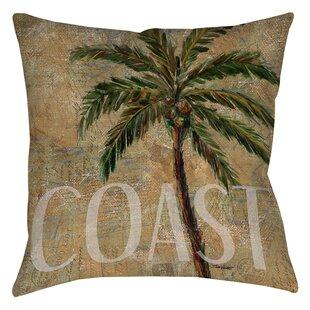 Coastal Palm Postcard Printed Throw Pillow