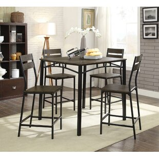 Brockman Wooden 5 Piece Pub Table Set